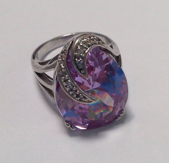 Beautiful Sterling Silver Teardrop Purple Stone Ring, Ornate Silver Ring, Ring Size 8, Marked 925