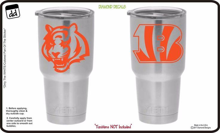 Cincinnati Bengals (Set of 2) Vinyl Decals for Yeti Tumbler Cup NFL Gear Sticker #DiamondDecals