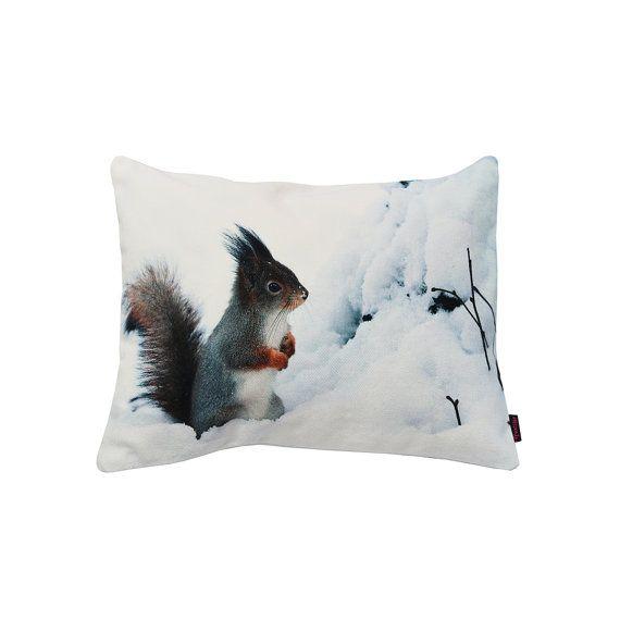 Handmade Designer Snow Squirrel Cushion by Textiler