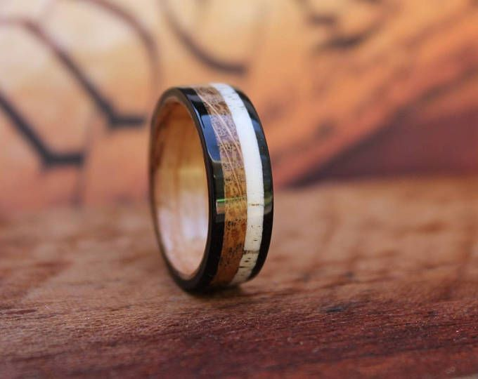 Featured listing image: Jack Daniel's Reclaimed Whiskey Barrel Ring with Elk Antler & Ebony