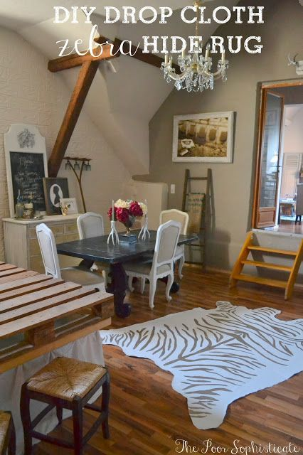DIY Drop-Cloth Zebra Hide Rug . What a great budget friendly way to get a fun looking rug!