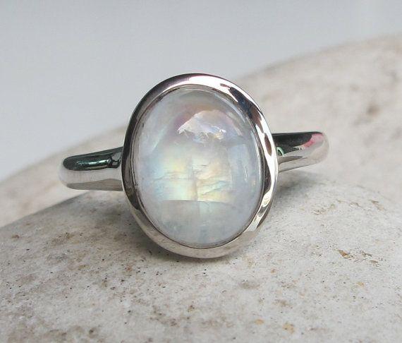 Cabochon Moonstone Ring- Rainbow Moonstone Ring- Black Rhodium Ring- Stone Ring- Gemstone Ring- Silver Moonstone Ring- Rainbow Ring- Ring on Etsy, $56.99