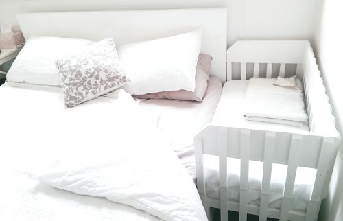 We put the homemade co-sleeper in our bedroom today and I'm...