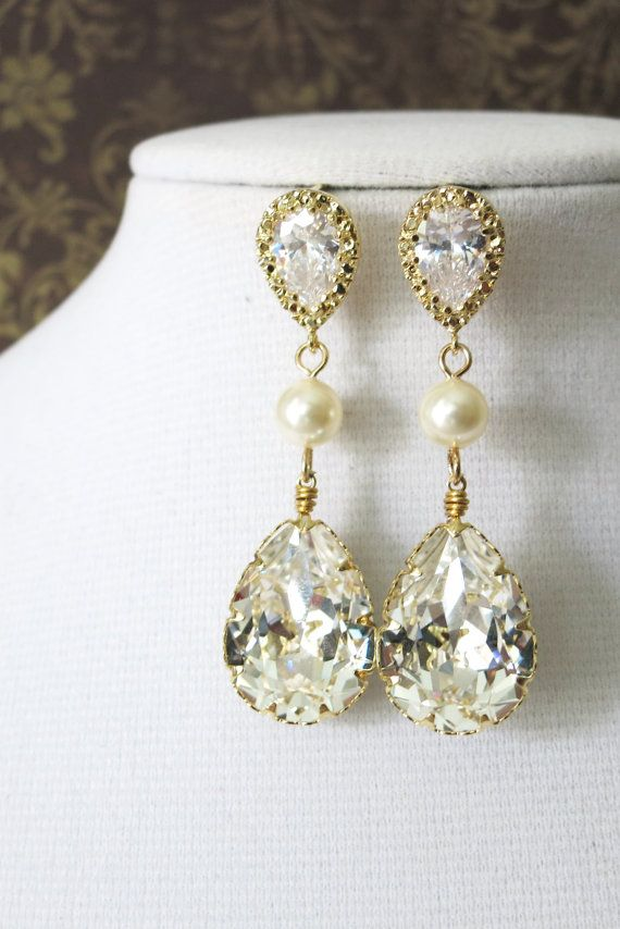 Swarovski Teardrop Crystal Earrings, Bridal Wedding, Silver Bridesmaid Earrings, Swarovski, Pearl, Cubic Zirconia Earrings, www.glitzandlove.com