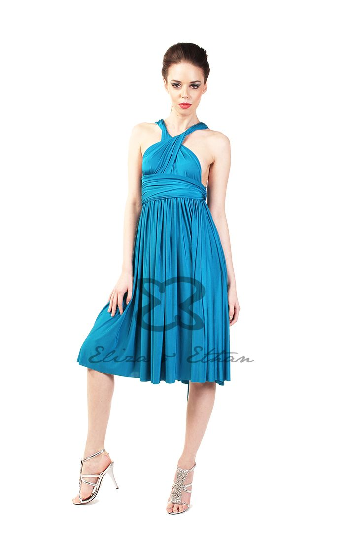 Eliza and Ethan - Multiway - Infinity - Bridesmaids Dresses - OneSize - Short MultiWrap Dress Color: Blue Lagoon
