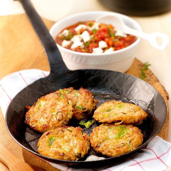 Aardappelkoekjes met courgette-tomatensaus ww recept