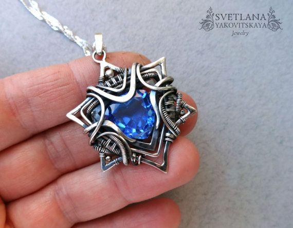 Star of David pendant, Silver Pendant, Quartz, Silver Jewelry, Star of David, Wire jewelry, Blue, Wire wrap pendant, wire wrap