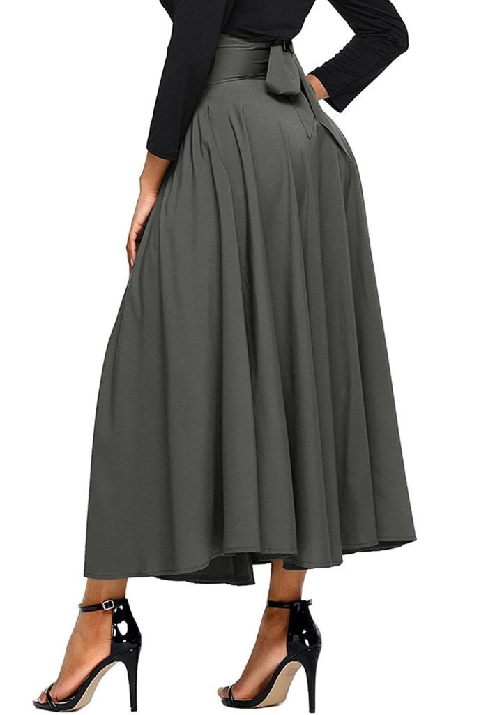 Asvivid Women s High Waist Pleated A Line Long Skirt Front Slit Belted Maxi  Skirt S-XXL 18f646886