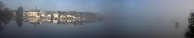 Bouchemaine Maine et Loire France during a flood of the maine river in a misty january morning. Panoramic image made from 6 pictures. Minimal post processing done with gimp. 12654 x 2477
