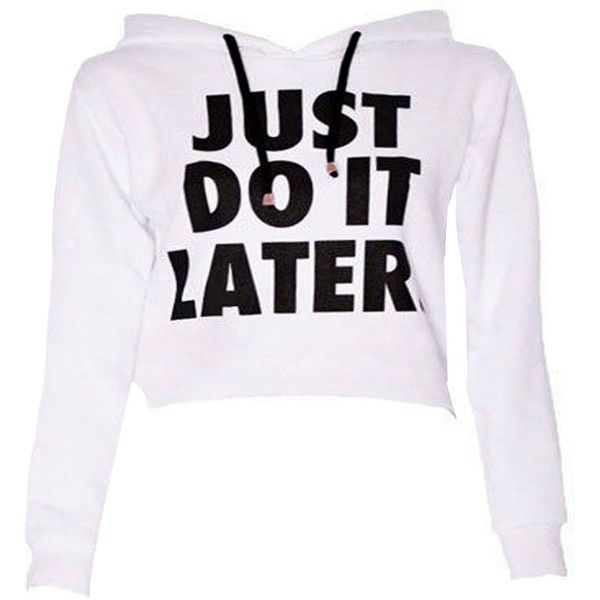 Do It Crop Sweatshirt in White (58 PLN) ❤ liked on Polyvore featuring tops, hoodies, sweatshirts, shirts, sweaters, cropped sweatshirt, sweat shirts, low crop top, crop top and women tops