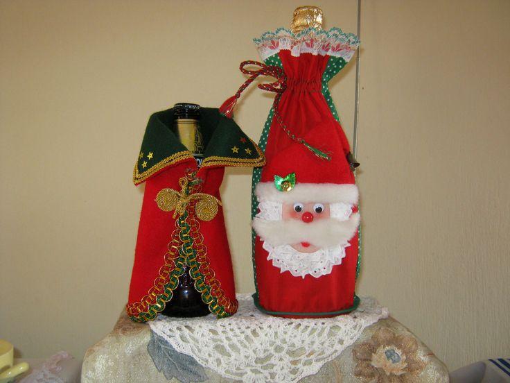 hermosos cubre botella con motivos navideños ideales para decorar la cocina o como centros de mesa...
