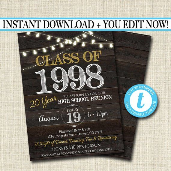 editable reunion invitation template any year college reunion