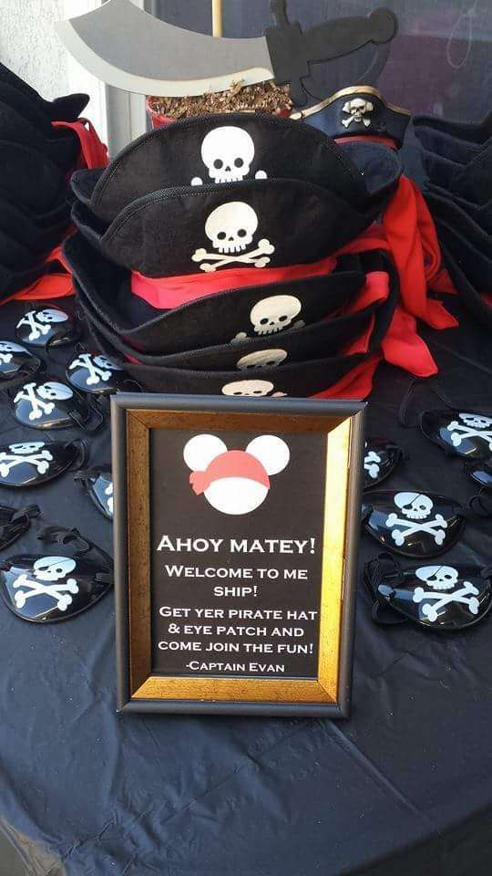 Party hat favors at a pirate Mickey Mouse birthday party! See more party planning ideas at CatchMyParty.com!