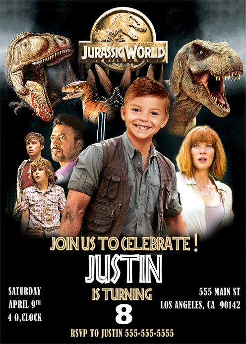 Jurassic World Invitation with photo Jurassic by BogdanDesign