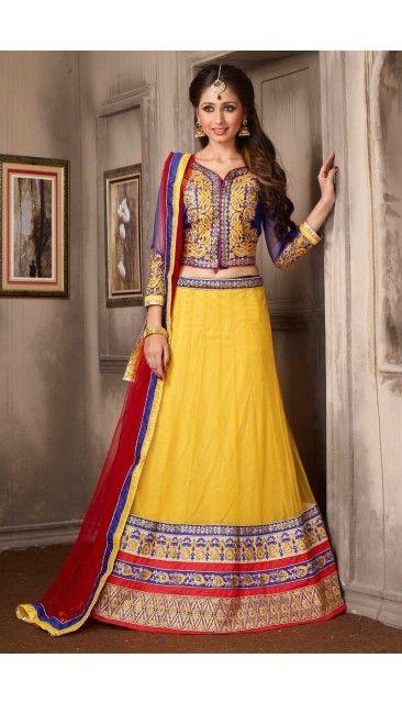 Yellow Net Lehenga With Art Silk Choli - DMV10000