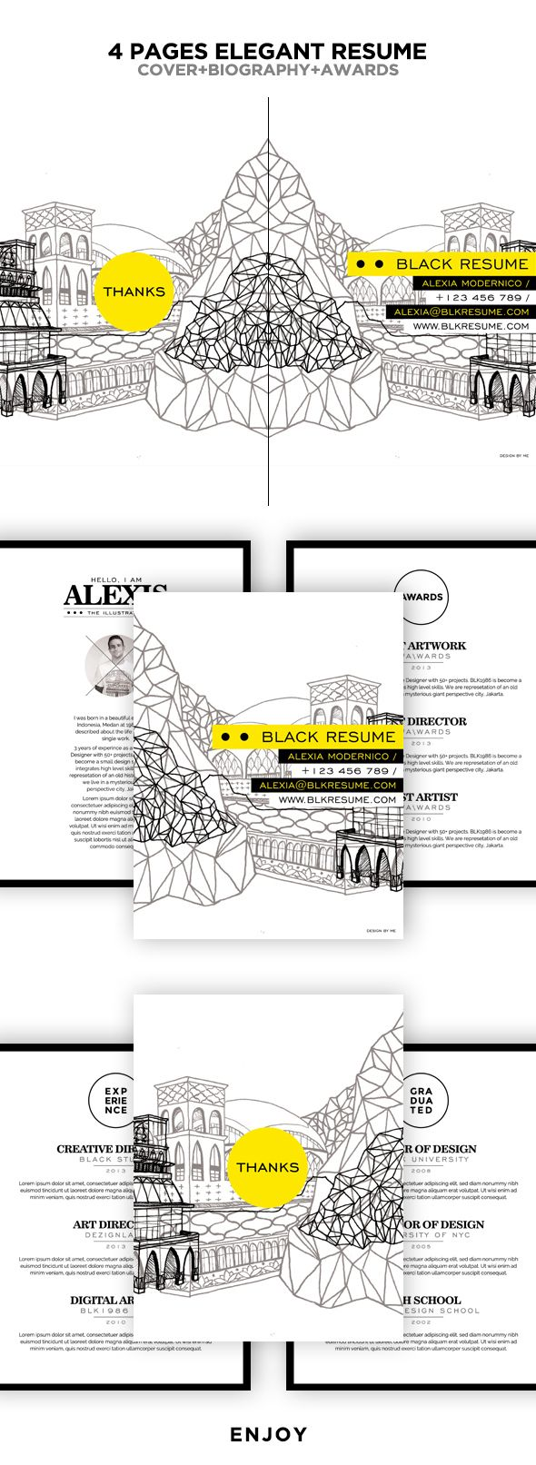 I love 4 panel tabloid resumes, although they are less common, I think they are a great presentation format! Here is a great example!   Black Elegant Resume Booklet by Firman Suci Ananda, via Behance