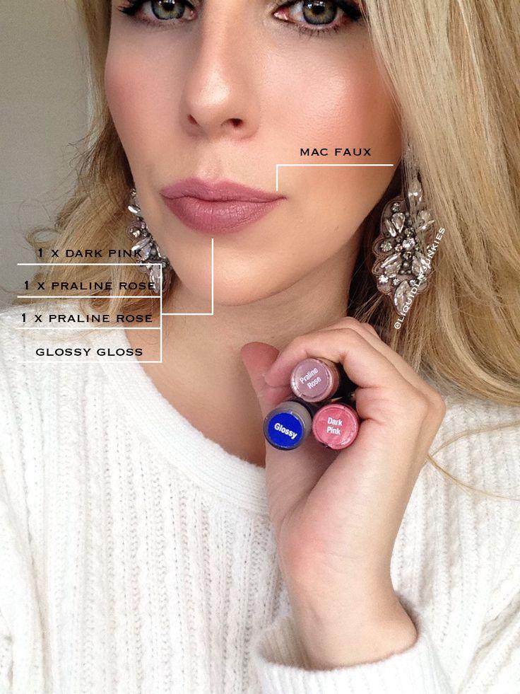 LipSense Dupe || MAC Faux || 1 x LipSense Dark Pink, 2 x LipSense Praline Rose & LipSense Glossy Gloss.  @liquidlipjunkies