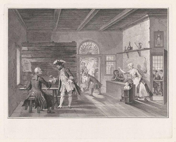Pieter Tanjé | De Puiterveense helleveeg achter de tap, Pieter Tanjé, Cornelis Troost, 1752 - 1761 | De verklede dieven Jan de Rolder en Piet Pothuis heffen het glas in de gelagkamer, waar Swaantje achter de tapkast tegen haar man Fobert staat te tieren. Ze is daar zo druk mee, dat ze niet door heeft dat ze wordt bestolen. In de zijkamer rechts zitten Hartje Spilpenning en Saartje van Lichten gekleed als doopsgezinden. Scène uit het tweede bedrijf van het toneelstuk De Puiterveense…
