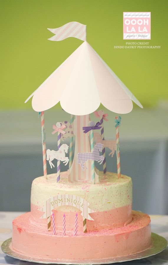 Oooh La La Deluxe Merry-Go-Round Cake Topper by ooohlalapaperie
