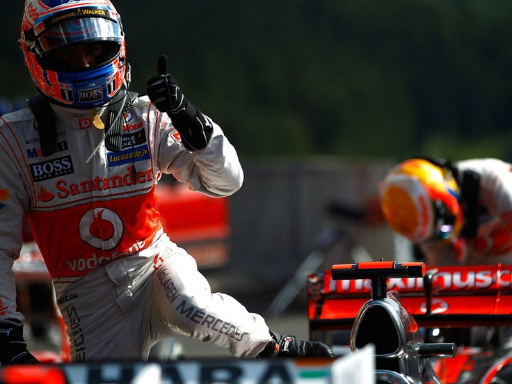 Jenson Button celebrates his first McLaren pole #F1_Monaco_GP Packages ~ http://VIPsAccess.com/luxury/hotel/tickets-package/monaco-grand-prix-reservation.html