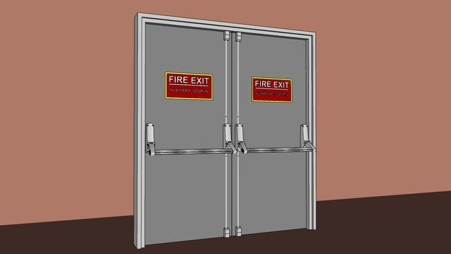 Large preview of 3D Model of Commercial Steel Dual Fire Doors - 36 in /w Crossbar Type Exit Device - Type 1
