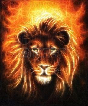 peinture toile: Lion close up portrait, tête de lion à la crinière d'or, belle peinture à l'huile sur toile détaillée, effet fractale de contact avec les yeux