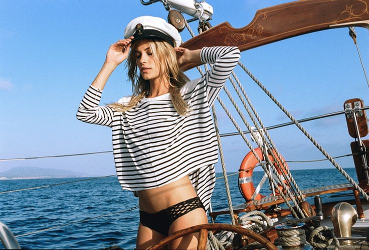 Sporting a sailor cap, Barbara gets nautical in a striped knit top Amuse Society summer 2016 lookbook