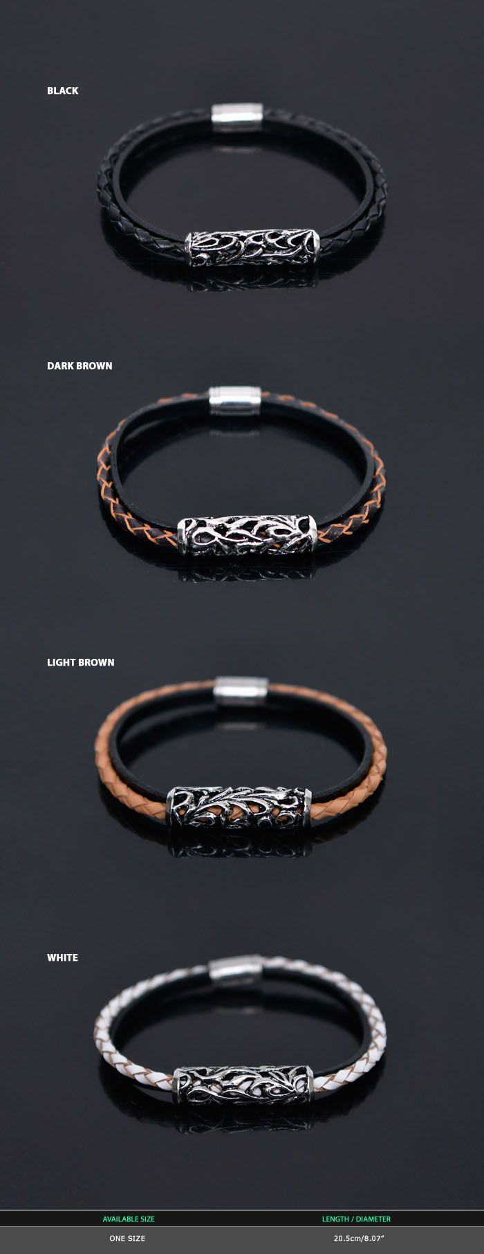 Braided Leather Magnetic Cuffbracelet 316  Guylook