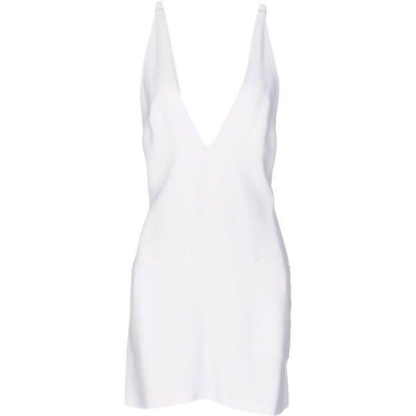 Christopher Kane Short Dress (£546) ❤ liked on Polyvore featuring dresses, vestidos, white, short dresses, tent dress, trapeze dress, sleeveless dress and zipper dress