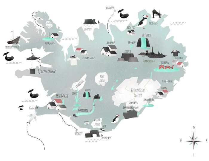 Iceland Illustrated - Such a great illustrated map over iceland!