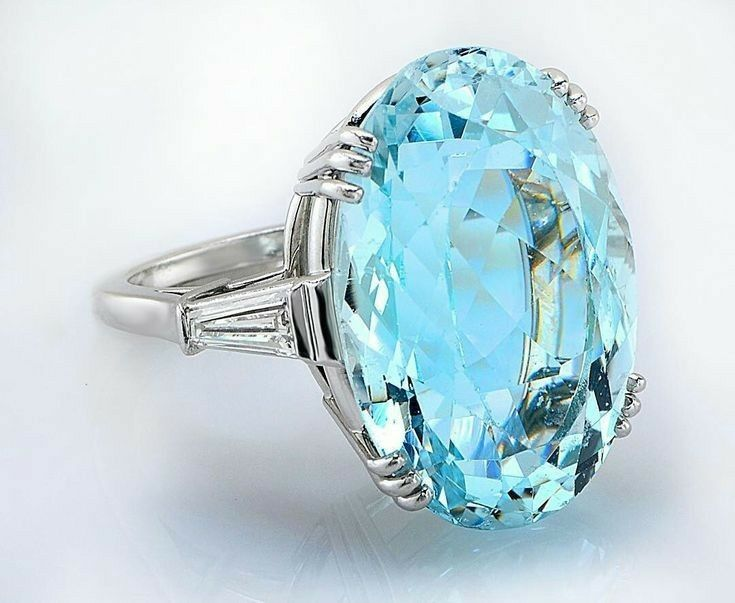 aquamarine platinum ring