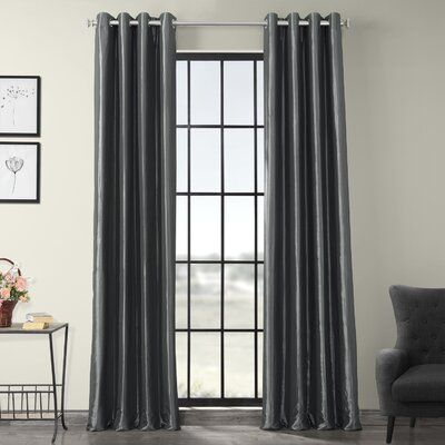 Astoria Grand Hallman Solid Max Blackout Thermal Grommet Single Curtain Panel Size per Panel: 84″ L x 50″ W, Curtain Color: Graphite