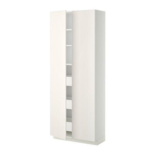 METOD/MAXIMERA Vys. sk. se zásuvkami/2 dvířky - bílá, Veddinge bílá  - IKEA