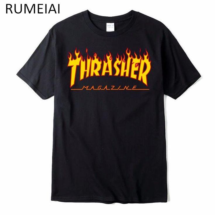 thrasher t shirt Men women skateboards tee short sleeve skate t-shirts tops hip hop t-shirt homme man trasher t shirts