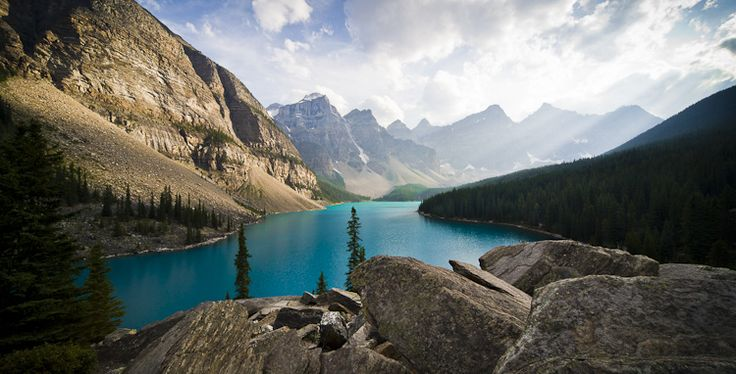 Landscape photo.  Moraine Lake, Canada. Captured at 8:30pm in the evening.
