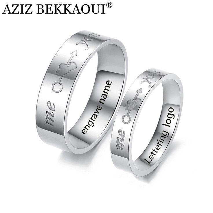 カップル刻まリング結婚指輪愛好家のためあなた&ミー文字リング316lステンレス鋼命名婚約プロミスジュエリー