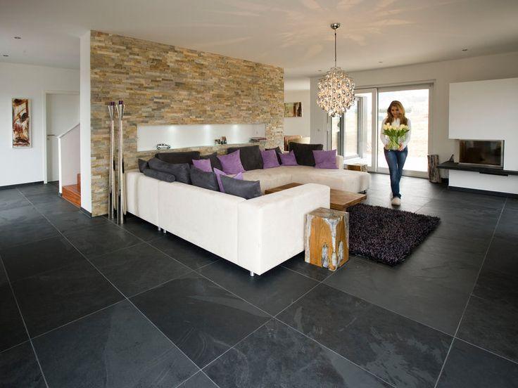 Kundenfoto Schiefer-Fliesen Mustang, verlegt im Wohnzimmer mit - moderne fliesen wohnzimmer