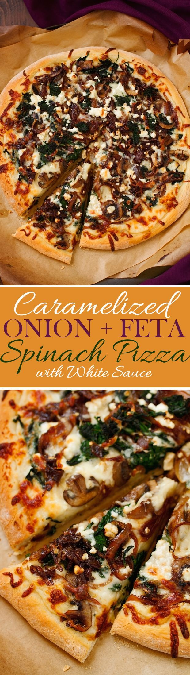 Caramelized Onion Feta Spinach Pizza with creamy white sauce! This pizza tastes like you ordered it at a fancy restaurant But it's simple to make at home!