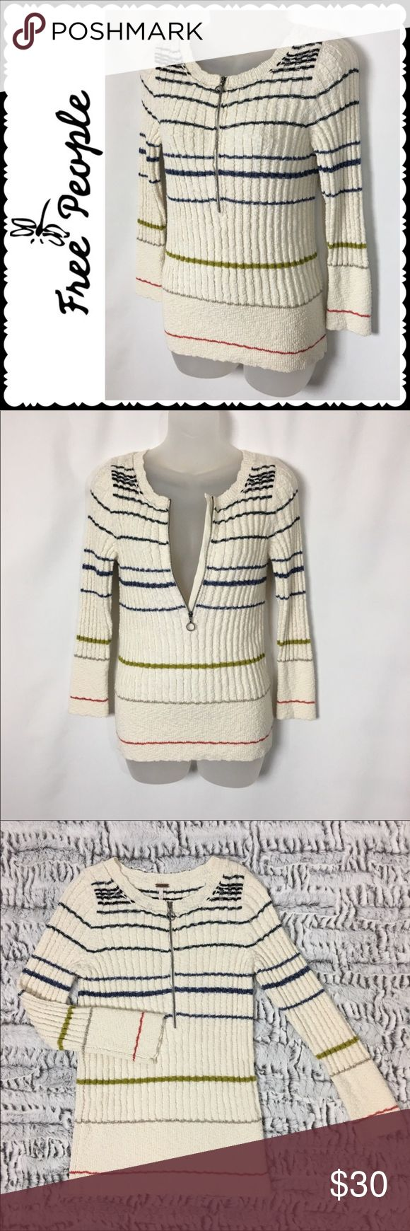 Free People Rossi Henley Half Zip Sweater M Free people Rossi Henley straight half zip sweater Size medium Great condition Bust measures 32 inches Length is 25 inches  Material has a lot of stretch Free People Sweaters