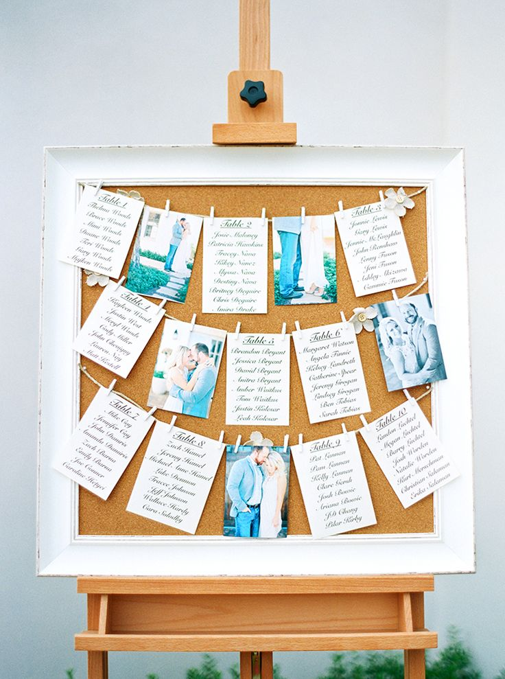Engagement photos and seating lists on a cork board as a charming seating chart. DIY wedding idea. - Melissa Jill Photography