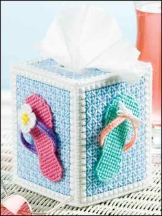 Plastic Canvas - Tissue Topper Patterns - Boutique-Style Patterns - Summer Flip-Flops