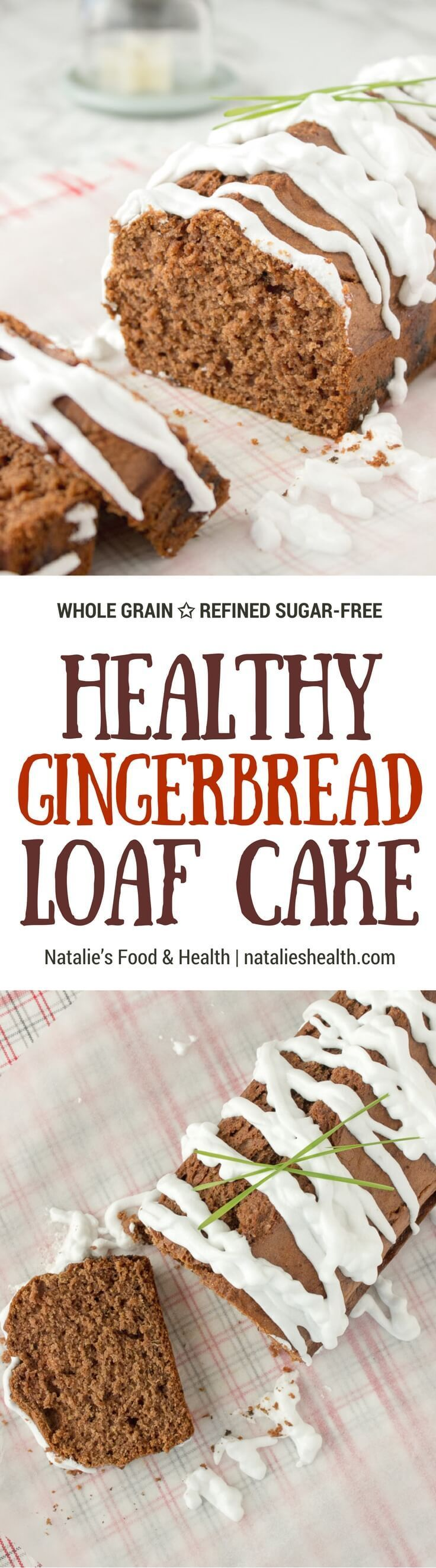 Irresistibly soft and full of warm, fragrant spices, this Gingerbread Loaf Cake is refined sugar-free and made with all HEALTHY ingredients. #healthy #ginger #christmas #holidays #kidsfriendly #skinny #easy #bread #dessert #wholegrain #cinnamon #lowcalorie | www.natalieshealth.com