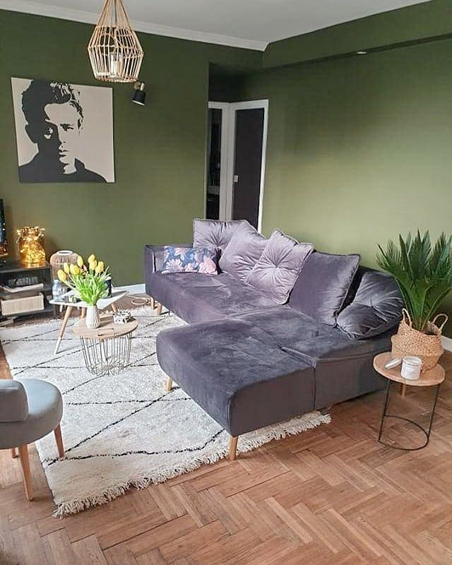 Bobochic Paris Canape D Angle En Velours Gris Tendance Mur De Couleur Vert Kaki Tapis Style Berbere Losange No Canape Angle Mobilier De Salon Decoration Maison
