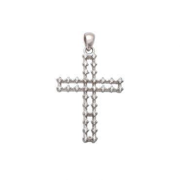 Ιδιαίτερος σταυρός γυναικείος ή βάπτισης λευκόχρυσος Κ18 με σειρέ λευκά ζαφείρια πάνω σε διπλές ράγες | Βαπτιστικοί σταυροί ΤΣΑΛΔΑΡΗΣ Χαλάνδρι #βαπτιση #βαφτιση #λευκοχρυσο #σταυρος #ζαφείρια