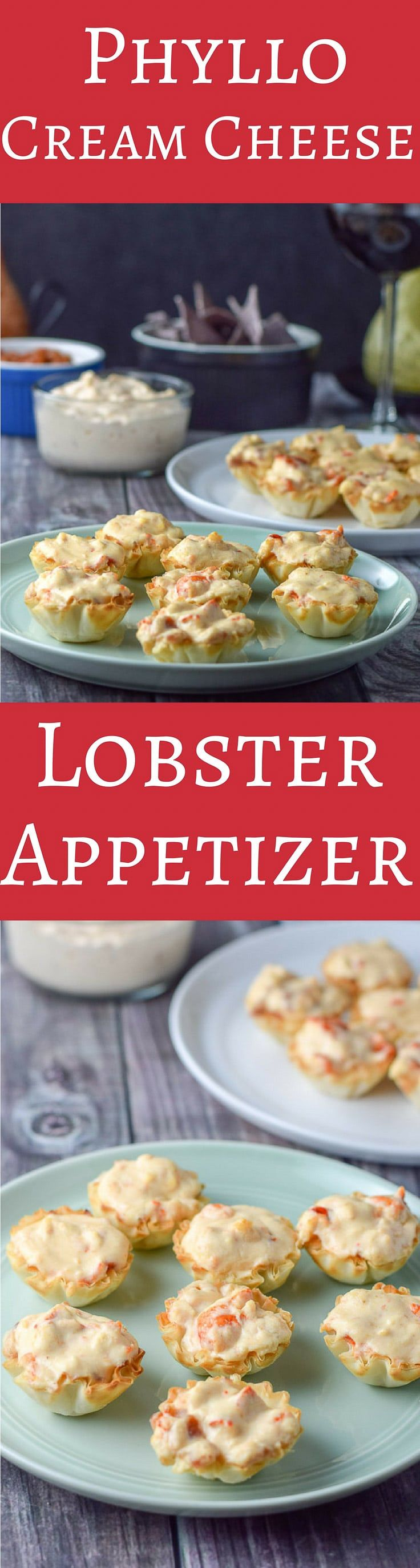 Phyllo Cream Cheese Lobster Appetizer is so good you will wonder where it's been all your life. Easy to make and so tasty, your guests will thank you!!  Or you can eat it by yourself and be thankful! via @dishesdelish