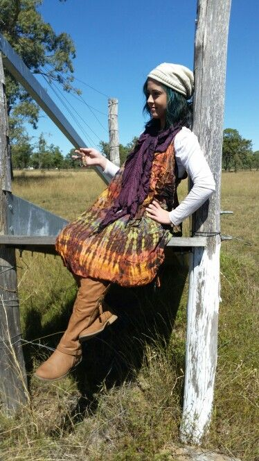 Tye dye dress great for winter or summer looks great with boots and for a little extra we added our lovely purple scarf