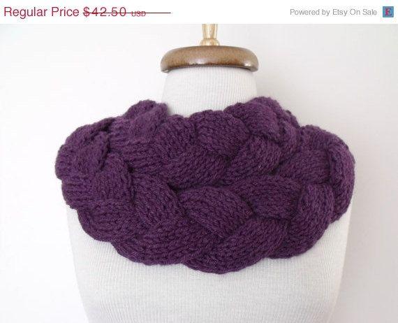 CHRISTMAS SALE Purple Braid Scarf Neckwarmer With by knittingshop, $38.25