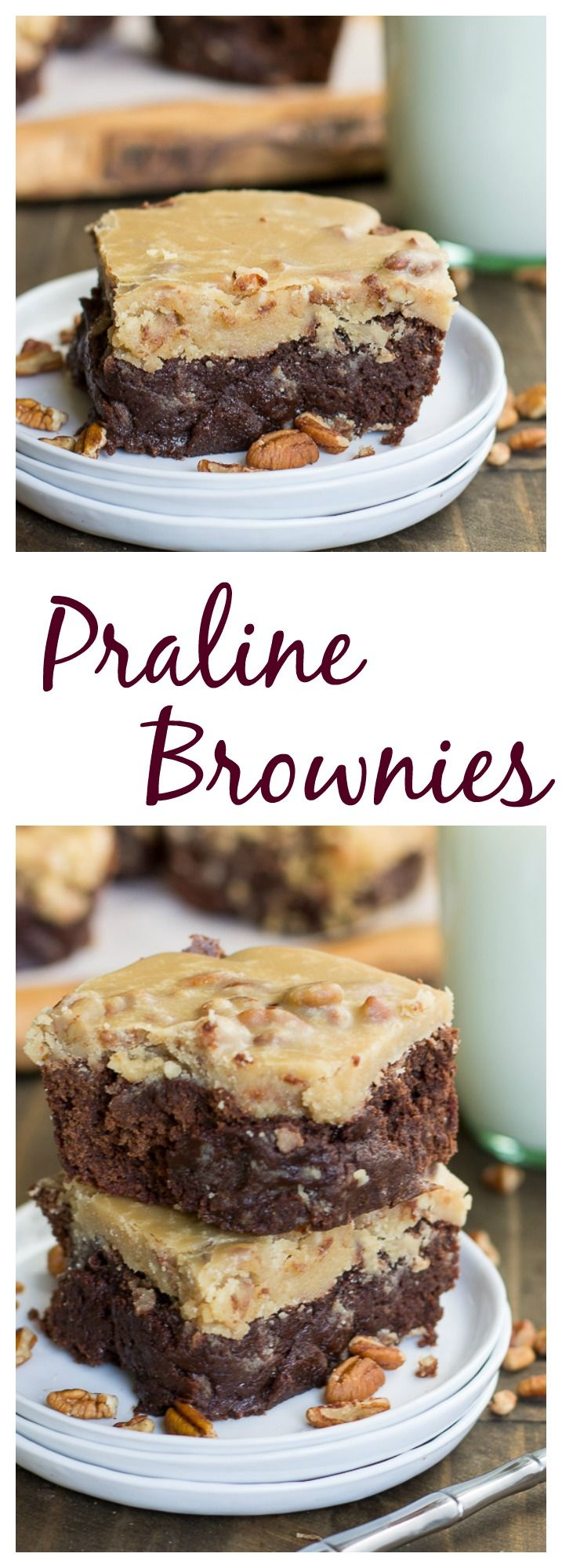 Rich, fudgy brownies covered with a thick layer of praline frosting. #mardigras