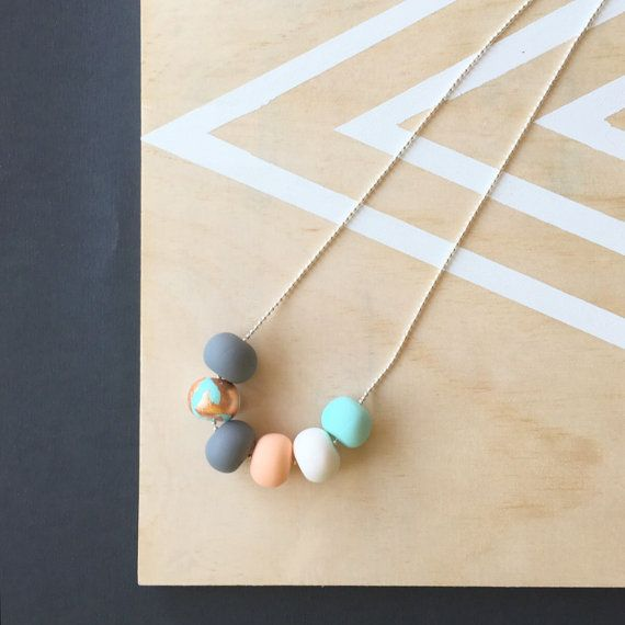 Polymer clay necklace. Mint copper peach white and grey by RafHop