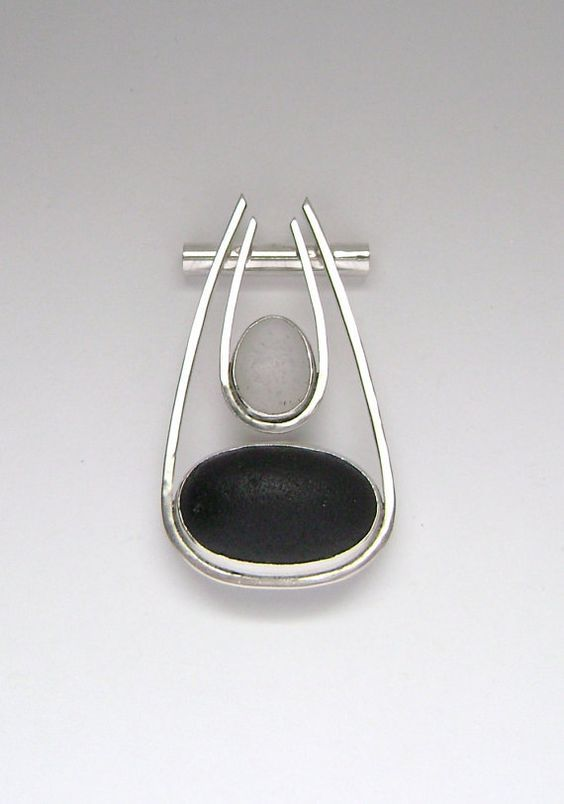 sterling silver and sea glass pendant